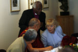 MJM1901 Nobel Peace Prize Laureates, the Dalai Lama, left, the Archbishop Desmond Tutu, Betty...