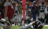 (JPM0322) Denver Broncos receiver Rod Smth, #80, lays on the field at the Kansas City Chiefs...