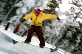 (BRECKENRIDGE, Co., SHOT 11/12/2004) Wyatt Glynn, 22, of Breckenridge nose presses a step-down box...