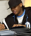 "(DENVER, CO. NOVEMBER 18, 2004) Carmelo Anthony signs copies of his book,  ""It's Just the..."