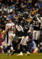 (San Diego, CA, December 5, 2004)  The Chargers celebrate an interception in the first quarter of...