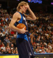 Denver, Colo., photo taken November 20, 2004- Dallas Star Dirk Nowitzki, left the game with a...