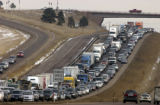 (Jefferson Co., Colo. Nov. 23, 2004)  Scene traffic jam on  westbound I-70 at Chief Hosa exit...