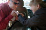 (11/04, Boulder, CO)  Cathy Rich, who is deaf and blind and suffers from Cerebral Palsy has a...