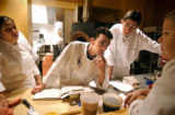 (DENVER, Co., SHOT 11/16/2004) Rioja (left to right) sous chef and co-owner Dana Rodriguez, pastry...