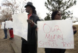 (Aurora, Colo., November 26, 2004) Tom and Donna Taylor were part of a small group of protesters...