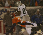 Oakland Raiders wide receiver Jerry Porter pulls in a 42-yard touchdown pass against Denver...
