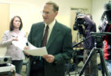 (GRAND JUNCTION , Colo, November 29, 2004) Local reporters react as  St. Mary's Hospital...