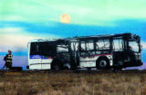 City bus burns up on I-76 between 144th and Bromley Lane, south of Brighton in Adams County