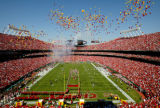 NORMAN NG/The Kansas City Star 091904 Balloons are released over Arrowhead Stadium before the...