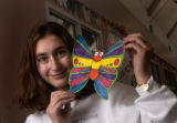 (Denver, Colo., November 30, 2004)  Portrait of Taryn Cantor, 13, with a butterfly at the...