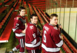 (Cambridge, MA. -November 21, 2000)   Harvard University Hockey players and brothers, Steve (#5),...