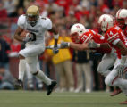 (Lincoln Nebraska, Nov. 26, 2004)  Blake Mackey runs after a 4th quarter reception against...