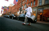 (DENVER, Co., SHOT 11/15/2004) Rioja co-owner and executive chef Jennifer Jasinski walks across...