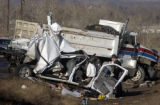 (Douglas County, Colo., December 21, 2004) A State Trooper investigates the scene of a fatal wreck...