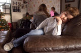 [LAKEWOOD, CO - Shot on: 12/21/04] Fletcher  Davis lays on a chair in his families livingroom. He...