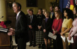 (DENVER COLO, December 8, 2004) Gov. Bill Owens releases the 2004 School Accountability Reports...