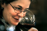 (DENVER, Co., SHOT 10/22/2004) Rioja co-owner and general manager Beth Gruitch tests the bouquet...