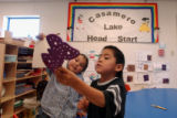 (BORREGO PASS, NEW MEXICO JANUARY 6, 2005)  (LT. TO RT.) Larissa del Garito, 4, and classmate...