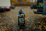 (11/04, Boulder, CO)  Cathy Rich, who is deaf and blind and suffers from Cerebral Palsy, waits in...