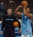 (DENVER, CO., NOVEMBER 11, 2004)  Denver Nuggets assistant coach, Chip Engelland, left, works with...