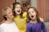 INDP104 - Singing a silly song for their mother Judy Cates, 63, 5-year-old twins Carli Sue'...
