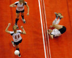 (DENVER, CO., NOVEMBER 12, 2004)  Sterling's #11, Lendi Lebsock, bottom/left, and #1, Schylur...