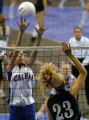 (DENVER, CO., NOVEMBER 12, 2004) Calhan's #1, Erin Goodhue, left, gets her fingers on shot by...