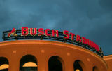 25 MARCH 2006 -- ST. LOUIS -- Sunset view of the sign atop the home plate entrance to the new...