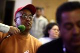 Jose Garcia (cq) makes comments at a public meeting hosted by the radio station 1150 KNREV-AM, La...
