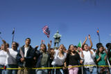 Denver High School students yell slogans at the State Capitol at a rally in Denver, Colo., on...
