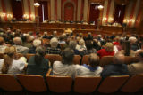 A look from the back of the capacity crowd during the hearing proceedings. The Old Supreme Court,...