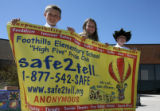 Foothills Elementary School fifth-graders (l-r) Jake Knostman, 10, Chelsea Payne, 11, and Tucker...