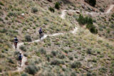 "A trio of mountain bikers climb some singletrack on ""Zippety Do Da"" in the Bookcliffs..."