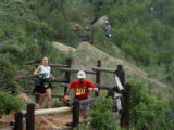 Sunday, August 21, 2005-photo by Jerilee Bennett-Runners head down the switchbacks of Barr Trail...