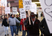 Striking RTD bus drivers picket at the Market Street station on 16th Street Monday, April 3, 2006....