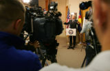 United States Sen. Ken Salazar addresses the media about his stance on a Law and Order Bill at ...