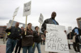 Gaylon Johnson (cq)  a striking RTD driver joins other striking RTD employees in a strike rally at...
