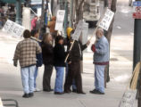 Striking RTD employees gather during a picket near  the Blake Street terminal on Monday April 3,...