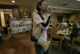 At the UMC student activist tim Hillman (cq) grad student at CU talks about their hunger strike...