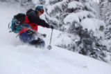 Telemark skier Ben Greer, of Estes Park, descends Margieís Knoll, an optimal place for making...