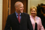 LAAB107 - Louisiana Lt. Gov. Mitch Landrieu, left, and his sister U.S. Sen. Mary Landrieu, D-La.,...