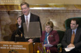 (DENVER, CO., JANUARY 13, 2005)  Colorado Gov. Bill Owens, left, gives his State of the State...
