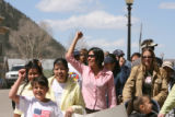 (CENTER IN PINK) Peruvian national Karla Wieder (CQ), 28, who helped organize fellow Latinos for a...