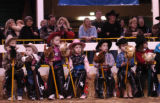 (Denver, CO., January 13, 2004) Kid rodoe contestants watch and wait in the stick horse rodeo at...