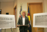 United States Senator Ken Salazar, speaks to the Denver media from his Denver Offices located at...