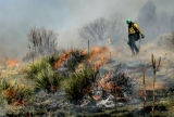 Josh Tighe (cq) with Black Canyon Fire and Rescue lays down fire with a drip pos during a...