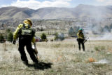 (L-R) Carol Von Michaelis (cq) with Genesee Fire and Josh Tighe (cq) with Black Canyon Fire and...