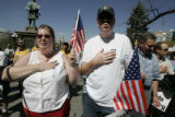 Beth Caldwell (cq) , and her son Donovan (cq)  from Centennial, CO recite the Pledge of...