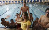 Coach Elizabeth Sedalnick, (cq), (email: esskd27@aol.com)...with a whole bunch of eager swim team...